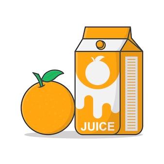 Scatola di succo d'arancia con illustrazione arancione. imballaggio in cartone di succo.