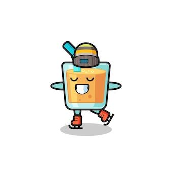 Cartone animato di succo d'arancia come un giocatore di pattinaggio sul ghiaccio che si esibisce, design in stile carino per maglietta, adesivo, elemento logo