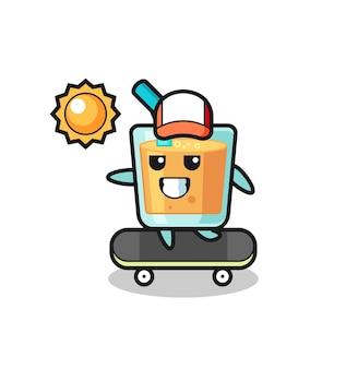 L'illustrazione del personaggio del succo d'arancia cavalca uno skateboard, un design in stile carino per maglietta, adesivo, elemento logo