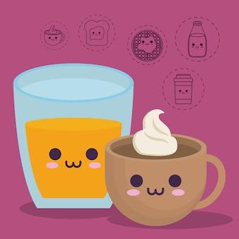 Succo d'arancia e tazza da caffè