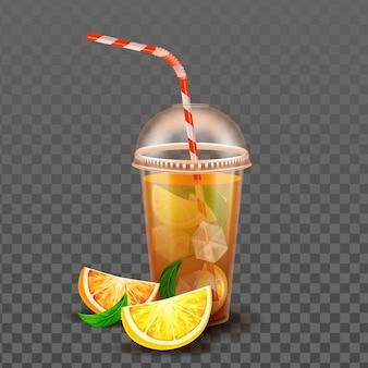 Tazza di succo d'arancia con cubetti di ghiaccio e vettore di paglia
