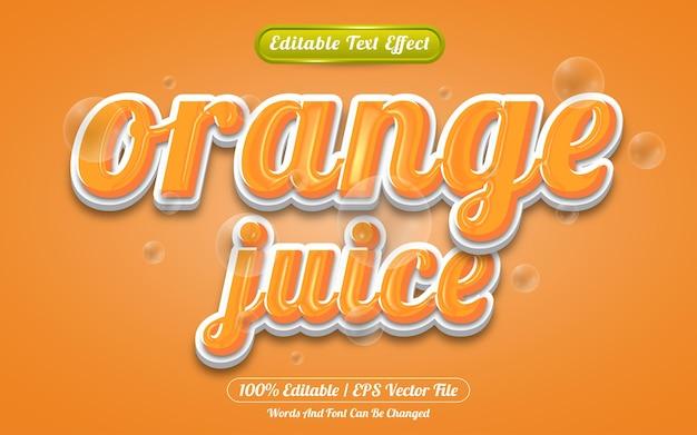 Stile modello effetto testo modificabile succo d'arancia