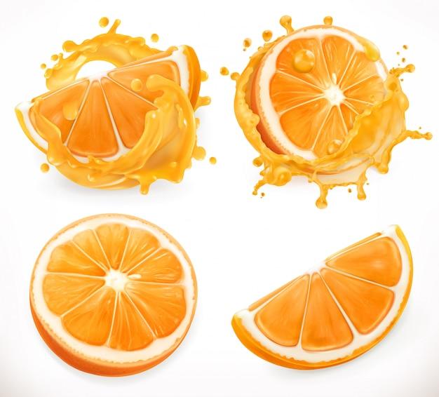 Succo d'arancia. frutta fresca e schizzi. realismo 3d, set di icone