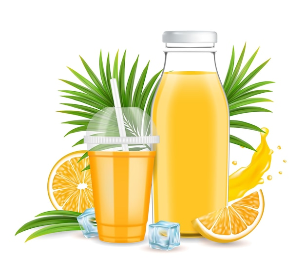 Succo d'arancia bottiglia di vetro tazza di plastica frutta fresca spruzzata di liquido illustrazione vettoriale gustoso rinfrescante... Vettore Premium