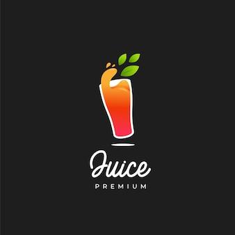 Succo d'arancia nel logo di vetro
