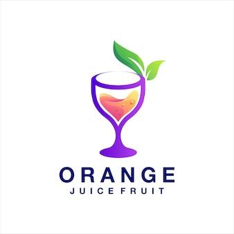 Design del logo sfumato di succo d'arancia