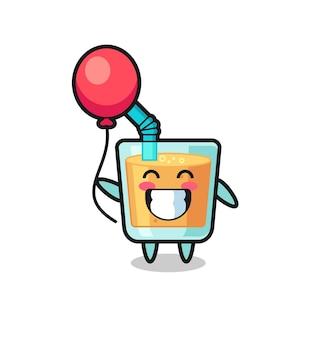 L'illustrazione della mascotte del succo d'arancia sta giocando a palloncino, un design in stile carino per maglietta, adesivo, elemento logo