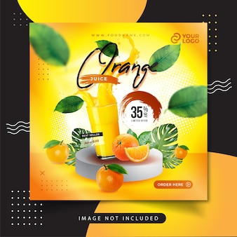 Post sui social media del menu del succo d'arancia