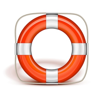 Cintura di salvataggio arancione in posizione verticale