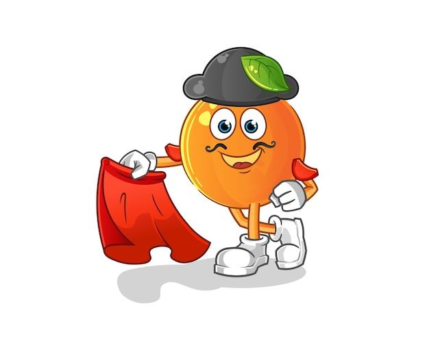 Matador arancione con illustrazione di panno rosso