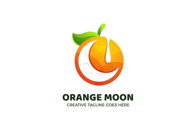 Modello di logo sfumato di luna arancione