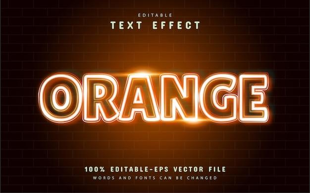 Effetto di testo al neon arancione