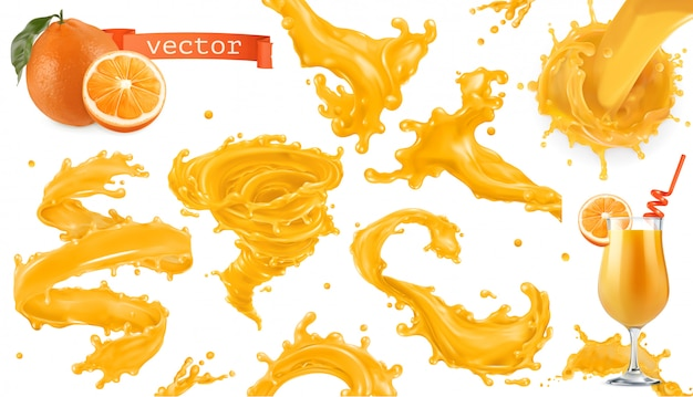 Spruzzata di vernice arancione. succo di mango, ananas, papaia. set di icone realistiche 3d