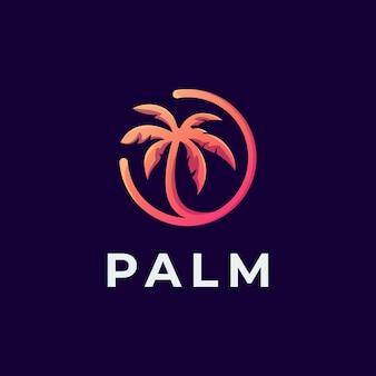 Logo palm arancione Vettore Premium