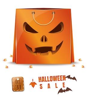 Shopping bag in carta arancione per halloween. 31 ottobre. grande vendita di halloween.