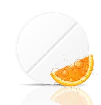 Icona della pillola arancione. illustrazione di vettore del fondo dell'ambiente