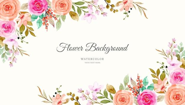 Sfondo di fiori di rosa rosa arancione con acquerello