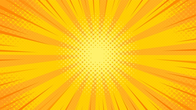 Sfondo arancione pop art. sunburst.