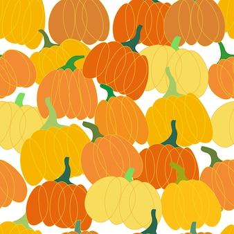 Modello senza cuciture zucca arancione le zucche sono ammucchiate dappertutto