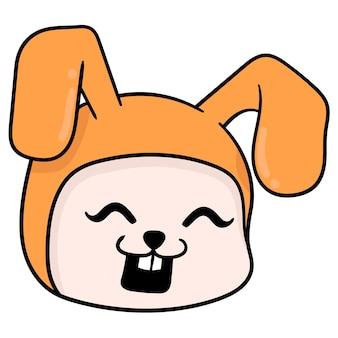 Testa di coniglio arancione che ride felicemente, emoticon di cartone illustrazione vettoriale. disegno dell'icona scarabocchio