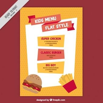 Orange e menù rosso per i bambini in design piatto