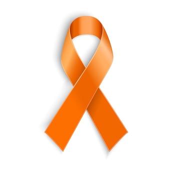 Nastro arancione come simbolo di abuso di animali, consapevolezza della leucemia, associazione del cancro del rene, sclerosi multipla