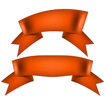 Orange ribbon banner isolati su sfondo bianco.