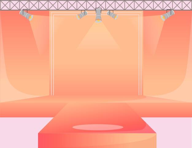 Illustrazione di colore arancione della piattaforma della pista. palco del podio vuoto. passerella con faretti. area dimostrativa della settimana della moda. presentazione della nuova collezione. sfondo di sfilate di moda