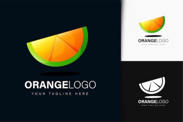Design del logo della fetta d'arancia con sfumatura