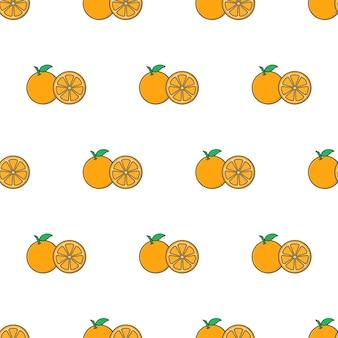 Modello senza cuciture fetta d'arancia su uno sfondo bianco. illustrazione vettoriale di tema arancione
