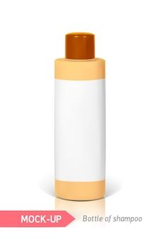 Piccola bottiglia arancione di shampoo con etichetta