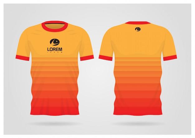 Divisa arancione della maglia da calcio per la squadra di calcio, vista anteriore e posteriore della maglietta
