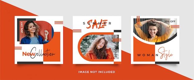 Modello di banner arancione per social media post feed