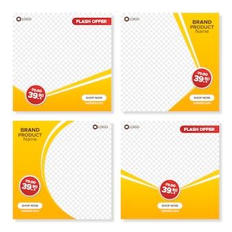 Modelli di banner vendita quadrato arancione per web e instagram