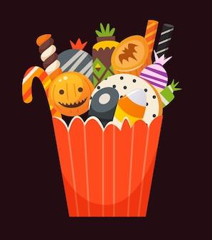 Sacchetto di carta a strisce arancione pieno di dolci, biscotti, caramelle e dessert