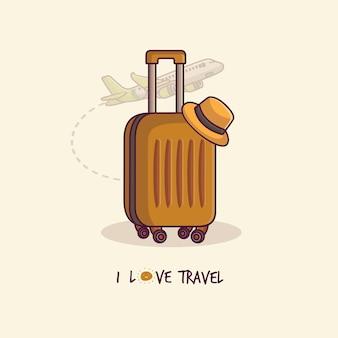 Valigia arancione con cappello viaggiatore valigia con accessori da viaggio cartone animato piatto