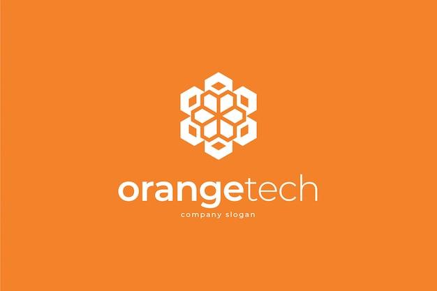 Modello di logo di tecnologia arancione