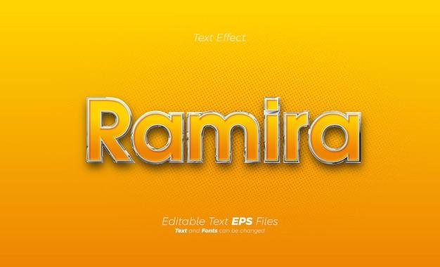 Effetto testo arancione con linee metalliche