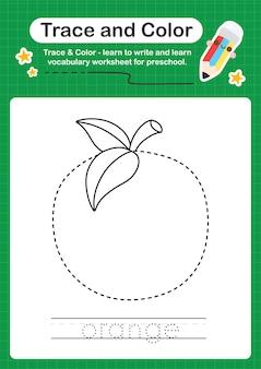 Traccia arancione e foglio di lavoro prescolare a colori per bambini che si esercitano nella scrittura e nel disegno