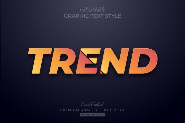 Effetto stile testo modificabile tendenza arancione premium