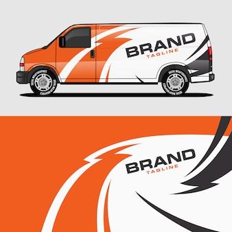 Disegno di adesivo e decalcomania di avvolgimento di disegno avvolgente arancione van