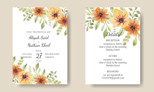 Biglietto d'invito con bouquet di fiori ad acquerello arancione