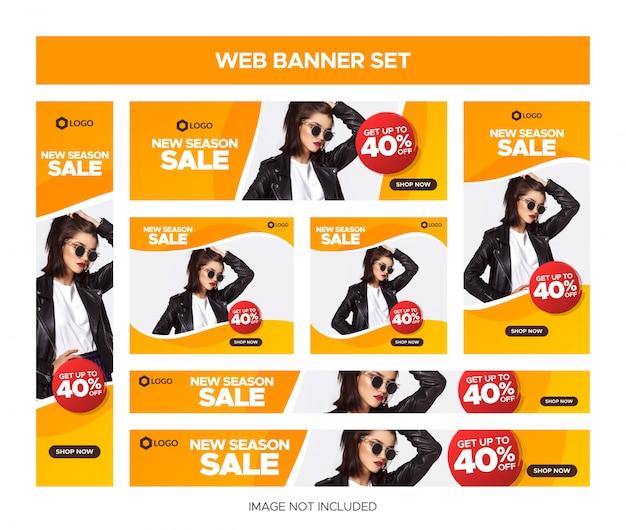 Insieme della bandiera di vendita web arancione