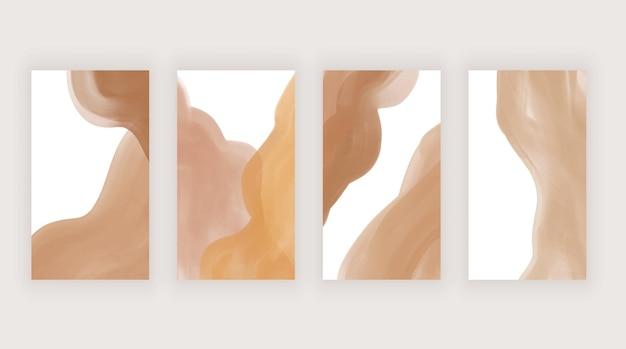Arancione con modelli di acquerello dipinto a mano marrone per storie