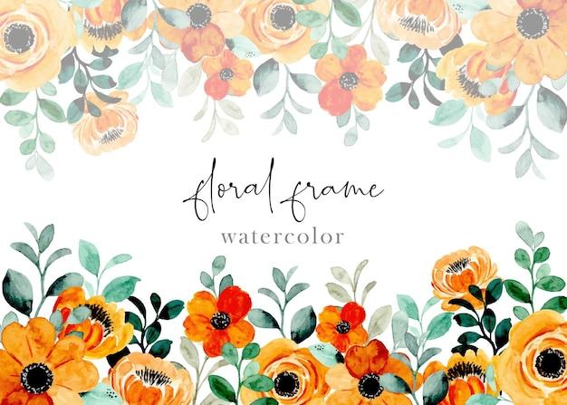 Cornice floreale giallo arancio con acquerello