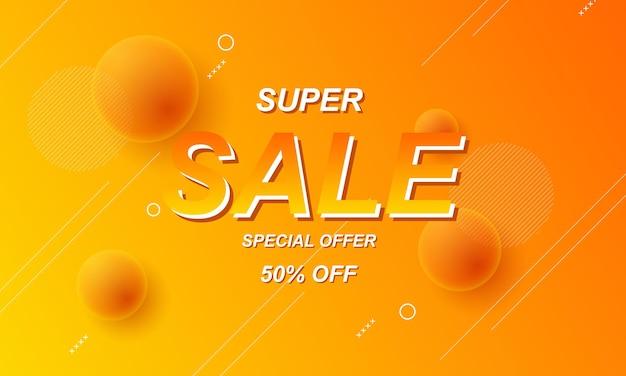 Sfondo di vendita sfumato arancione e giallo con illustrazione vettoriale palla realistica