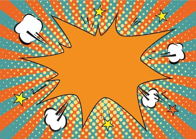 Sfondo pop art di raggi e puntini arancioni, gialli.