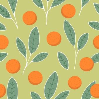 Modello senza cuciture di frutta e foglie di arance