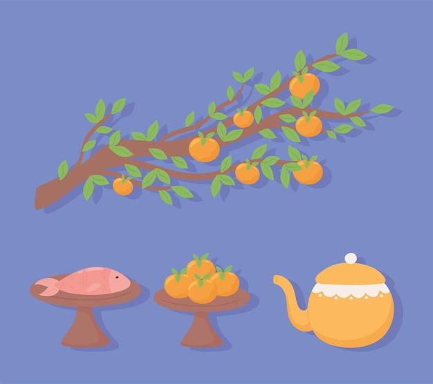 Teiera albero di arance e pesce