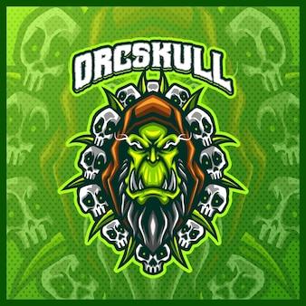 Orc skull gladiator warrior mascotte esport logo design illustrazioni modello vettoriale, orc knight con logo di assi per discordia streamer gioco di squadra, stile cartone animato a colori